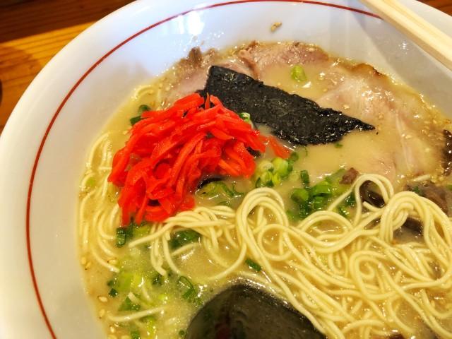 平針ラーメン【亀八】豚骨らーめんと紅ショウガ