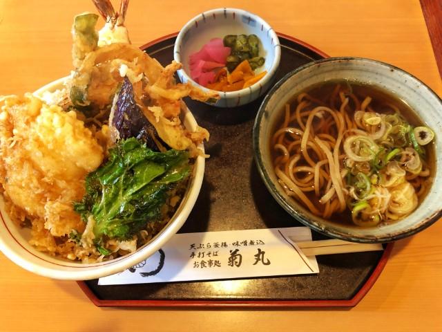 平針試験場周辺のおすすめランチ店【めん処 菊丸】天丼そばセット