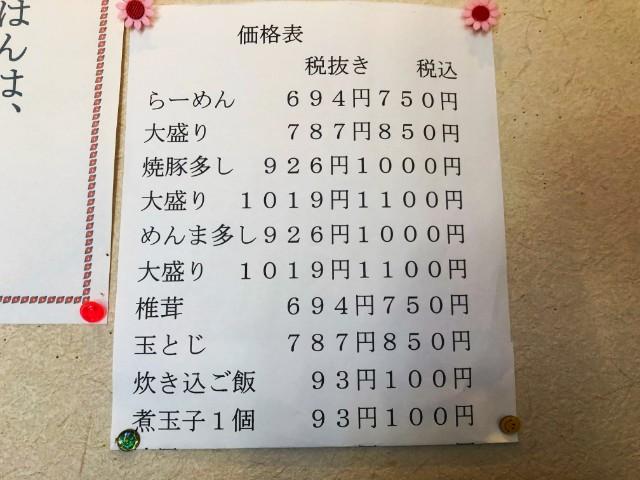 平針ラーメン(試験場近く)【味楽】メニュー