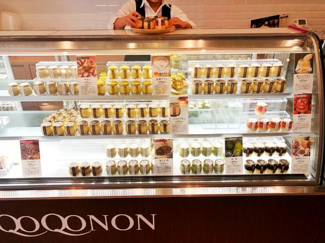 【QOQONON(ココノン)覚王山店】プリンのショーケース